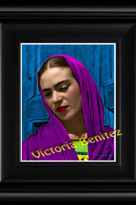 FRIDA KAHLO day of the dead REBOZO PURPLE digital oil painting design 8' X 10' photo print