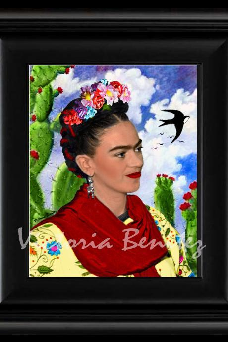 FRIDA KAHLO day of the dead CACTUS NOPALES digital oil painting design 8' X 10' photo print