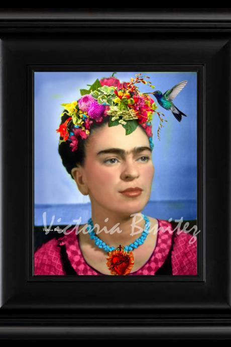 FRIDA KAHLO day of the dead HUMMINGBIRD digital oil painting design 8' X 10' photo print