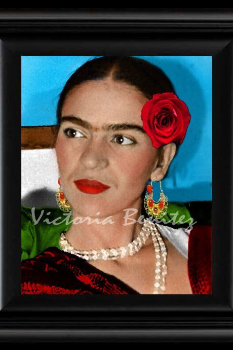 FRIDA KAHLO day of the dead LA ROSA ROJA digital oil painting design 8' X 10' photo print
