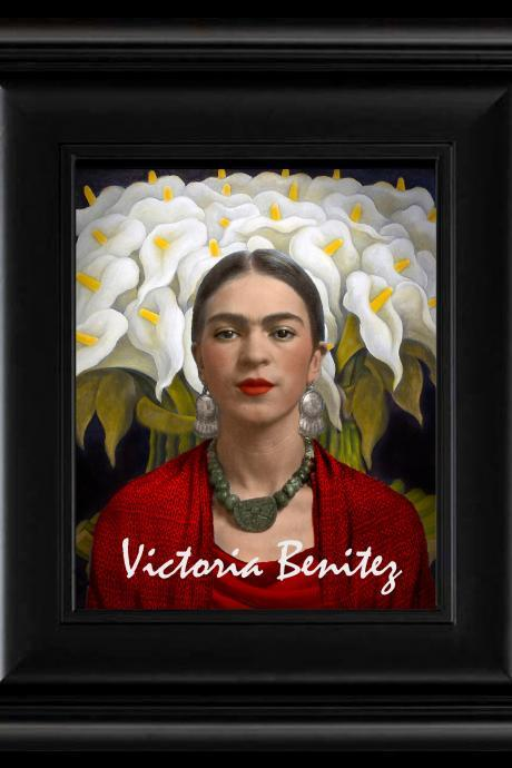 FRIDA KAHLO day of the dead CALLA LILIES RED digital oil painting design 8' X 10' photo print