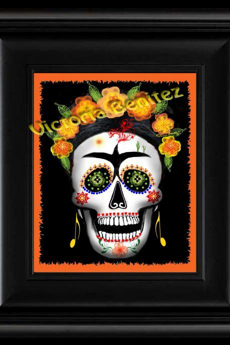 FRIDA KAHLO day of the dead ORANGE SUGAR SKULL digital oil painting design 8' X 10' photo print