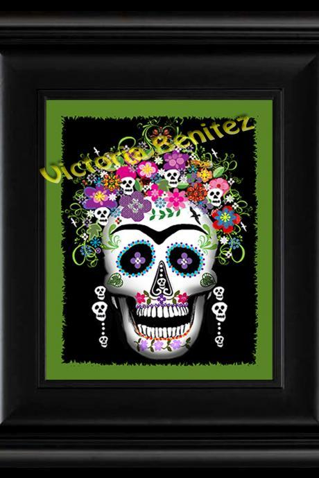 FRIDA KAHLO day of the dead GREEN SUGAR SKULL digital oil painting design 8' X 10' photo print