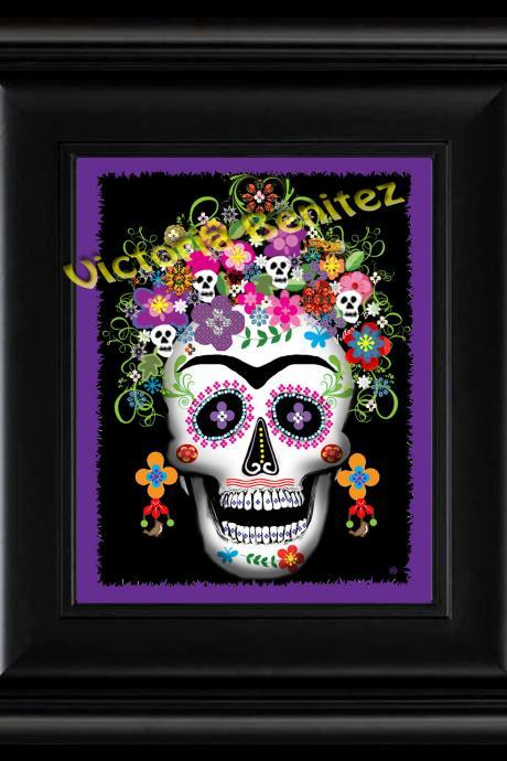 FRIDA KAHLO day of the dead PURPLE SUGAR SKULL digital oil painting design 8' X 10' photo print