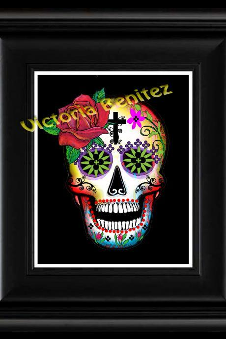 FRIDA KAHLO day of the dead ONE RED ROSE SUGAR SKULL digital oil painting design 8' X 10' photo print
