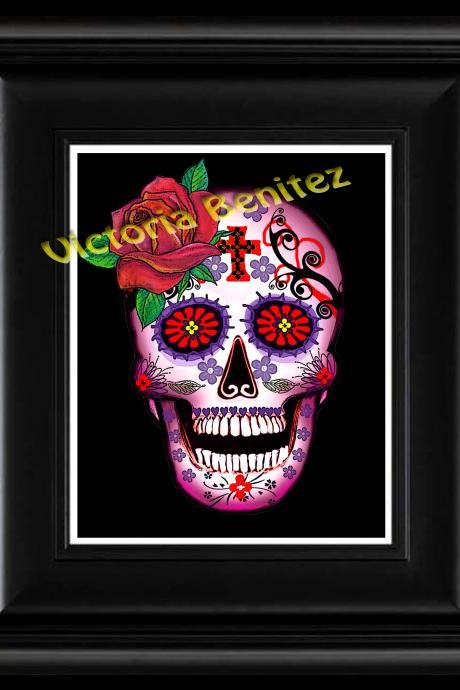 FRIDA KAHLO day of the dead PINK WITH RED ROSE SUGAR SKULL digital oil painting design 8' X 10' photo print