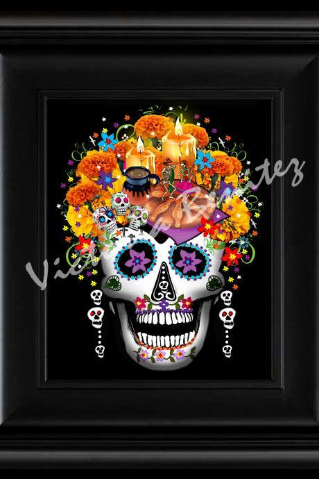 FRIDA KAHLO day of the dead OFRENDAS SUGAR SKULL digital oil painting design 8' X 10' photo print
