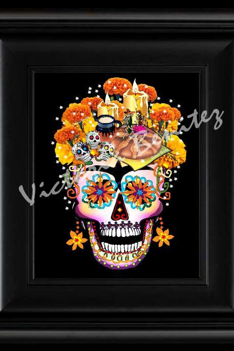 FRIDA KAHLO day of the dead THE OFFERING SUGAR SKULL digital oil painting design 8' X 10' photo print