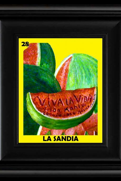 FRIDA KAHLO day of the dead LA LOTERIA LA SANDIA CARD digital oil painting design 8' X 10' photo print