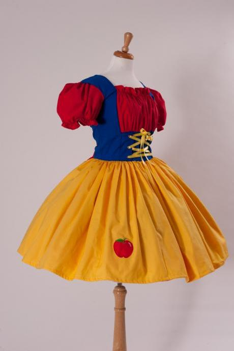 Snow White Halloween Costume Dress Custom Size Made to Measure Plus Size Womens Handmade Costume Apple Applique Yellow Red Blue