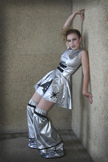 Cyber Sci Fi Retro Rocket Space Cadet Mini Dress Minidress and Legwarmers Womens Halloween Costume Silver Vinyl Custom Size