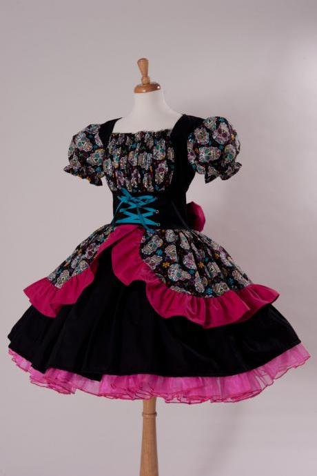 Day of the Dead Dress Cinco De Mayo Costume Sugar Skulls Halloween Costume cotton Dress Custom Made to Measure Plus Size Black Hot Pink