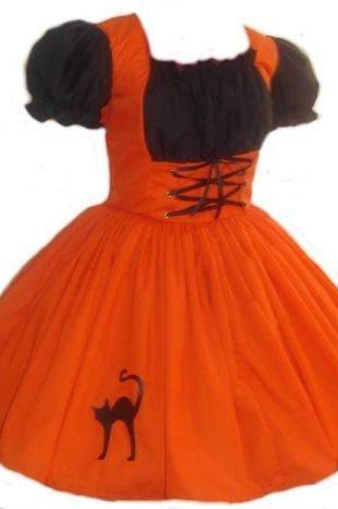 Orange Witch Halloween Costume Dress Orange and Black Costume with Cat Applique Cute Witch Custom Size Made to Measure including Plus Size