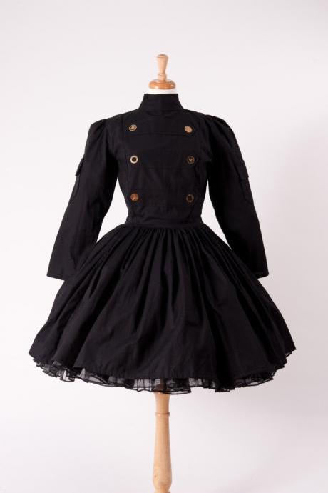 Steampunk Dress Military Lolita Gothic Dress Black Cotton Dress with Gears Custom Size Made to Measure including Plus Sizes