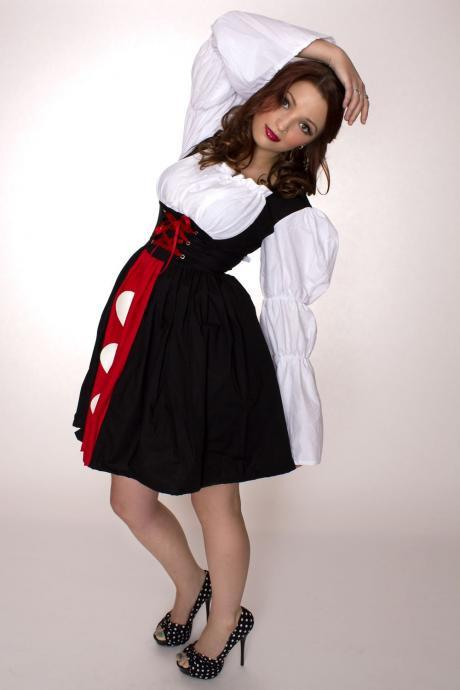 Queen of Hearts Dress Alice in Wonderland Halloween Costume Custom Size Plus Size Made to Measure Black Red White Cotton White Hearts