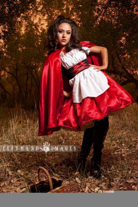 Little Red Riding Hood Halloween Costume Dress and Cape Gothic Lolita Kawaii Cosplay Costume Custom Size Made to Measure