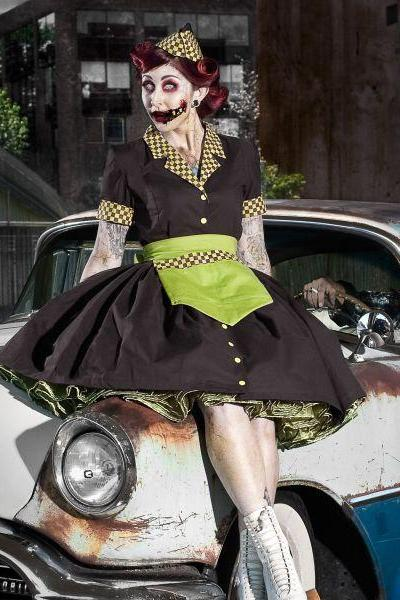 Zombie Car Hop Costume Retro 50s Waitress Dress Apron and Hat Zombie Pinup Pin Up Halloween Costume Brown and Lime Green Hat and Apron