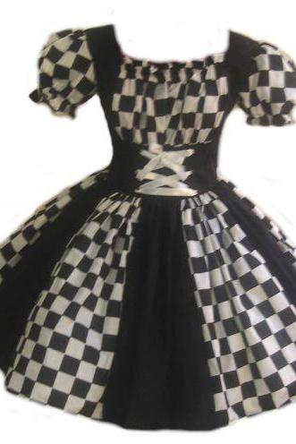 Womens Harlequin Dress Halloween Costume Circus Clown Mardi Gras Black and White Small Medium Large Xlarge 2X 3X 4X