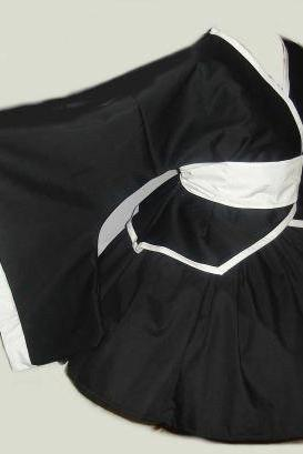 Gothic Lolita Cosplay Kimono Set Jacket Skirt and Obi Sash with Bow Black and White Custom Size Plus Size Made to Measure
