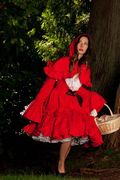 Little Red Riding Hood Halloween Costume Gothic Lolita Cosplay Cotton Dress and Hooded Capelet Short Cape Womens Medium