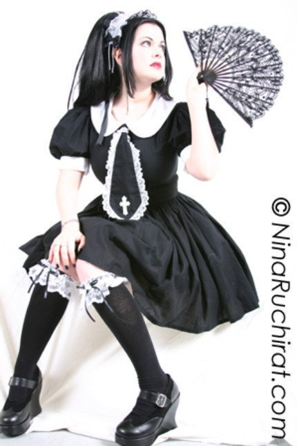 Gothic Lolita Dress Cute Schoolgirl Dress Gothic Lolita Schoolgirl Dress Black Gothic Dress Custom Size including Plus Sizes