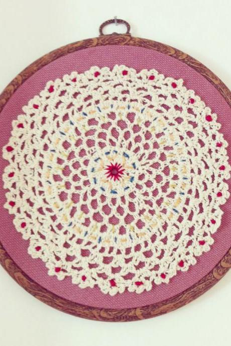 Vintage doily wall hanging, hand stitched and mounted in embroidery hoop.