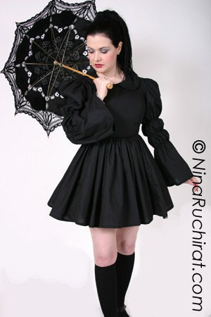 Black Gothic Lolita Dress with Peter Pan Collar Full Gathered Skirt and Long Sleeves Custom Size Including Plus Sizes