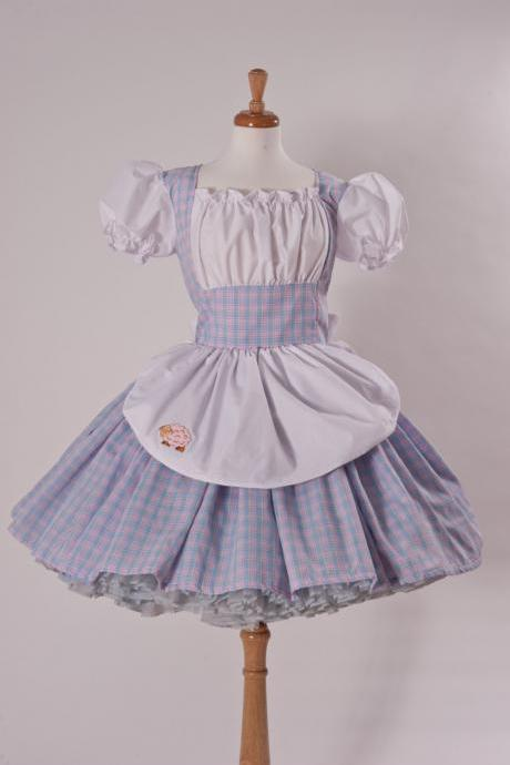 Little Bo Peep Halloween Costume Dress Pink Blue and White Handmade Fairytale Storybook Costume S M L XL 2X 3X 4X