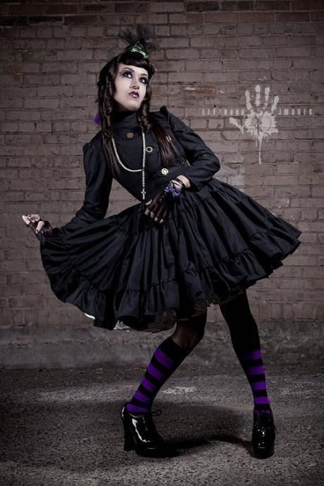 Steampunk Lolita Gothic Black Military Dress with Full Ruffled Skirt & Gears Cosplay Costume Custom Size Plus Size Made to Measure