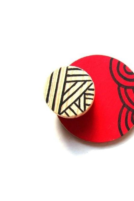 Red Geometric - brooch Hand painted wooden recycled