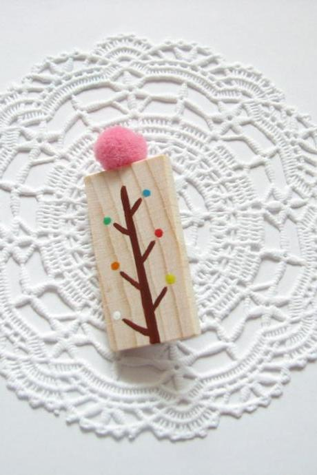 Hand painted wooden brooch Pon pon Rainbow Tree