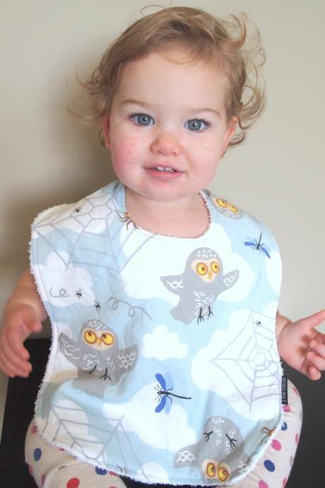 Owl Baby bib toddler cotton terry cloth snap