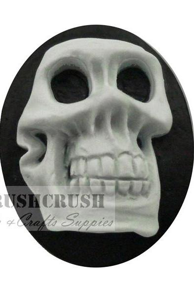 FREE SHIPPING--2pcs 30x40mm 3D Skeleton Skull Cameo Cabochon Flat Back F1117(A)