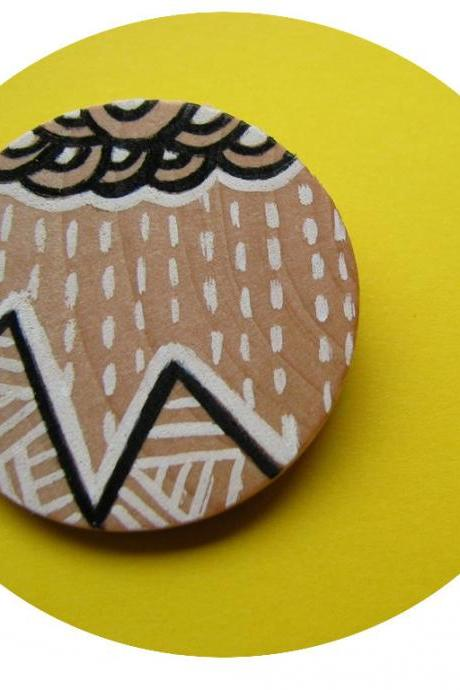 wooden brooch Mountains - Hand painted ecofriendly