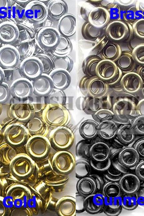 "FREE SHIPPInG--50pcs 7/32"" Hole Metal Eyelets Washer Grommet Scrapbooking Studs Brass--E081"