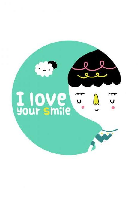 5'x7' print I Love Your Smile illustration wall art