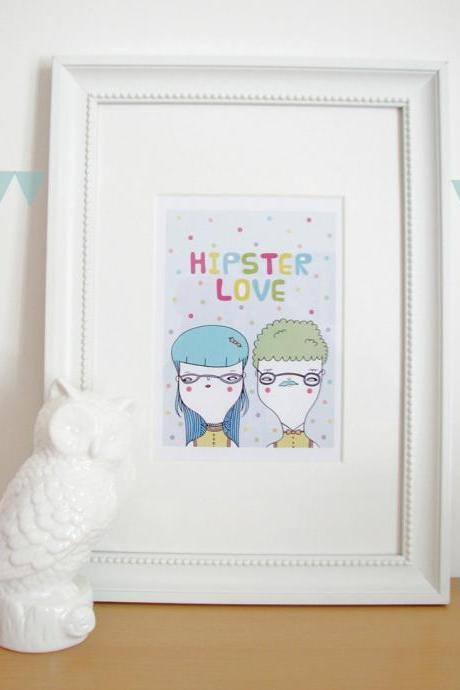 Hipster LOVE 5'x7' print of original ink illustration