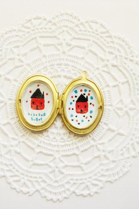 Hand painted Brass Oval photo Locket with two Houses Folk wearable art illustrated jewelry