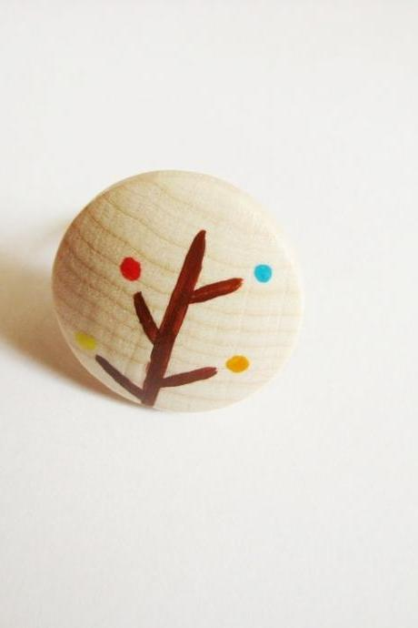 TREE wooden ring minimal Hand painted