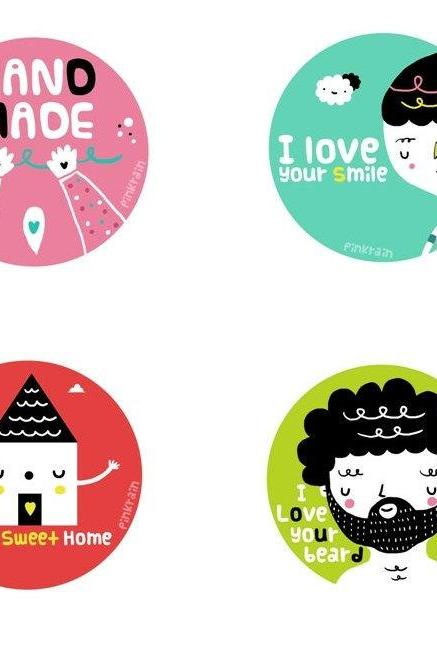 Big Size Round Stickers - A4 sticker sheet with 6 assorted subjects, gift tag label