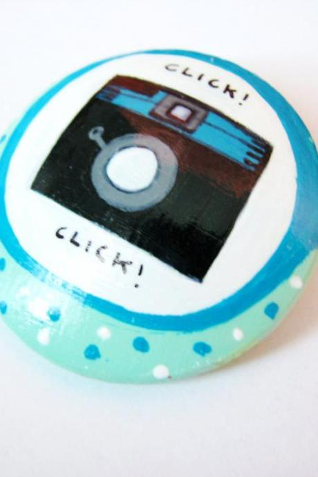 My Diana Camera - turquoise hand painted wooden brooch