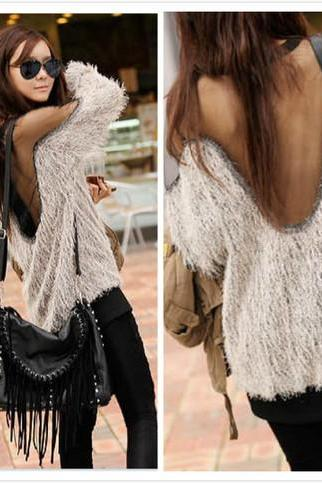 Mesh Patchwork Open Back Loose Sweater