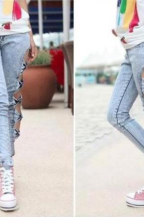 Hollow Bow Skinny Pants