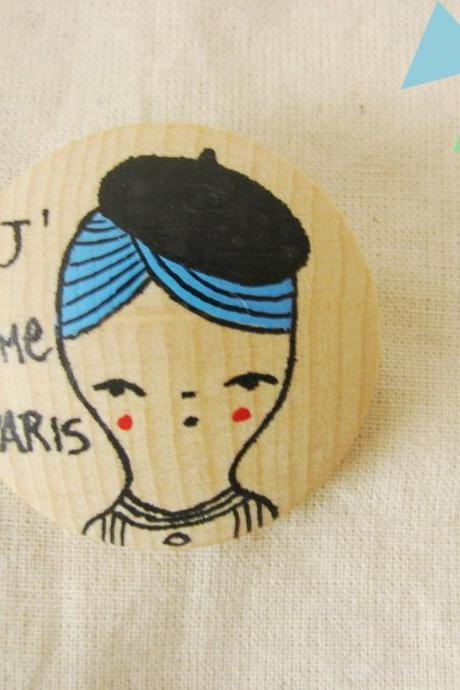 Brooch Hand painted wood PARIS
