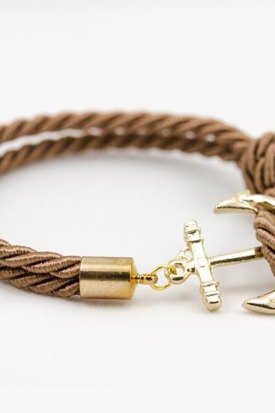 Gold Anchor Rope Bracelet with dark brown color , Anchor Bracelet , dark brown Rope Bracelet , bridesmaid gift