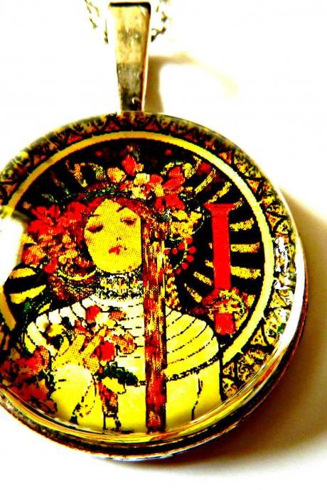 Art Nouveau Vintage Lady Tricia Necklace made with a glass cabochon and Tibetan Silver bezel, handmade