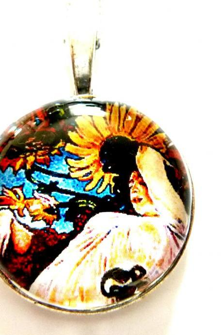 Art Nouveau Vintage Lady Sonia Necklace made with a glass cabochon and Tibetan Silver bezel, handmade
