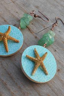 Wood & Seashell Earrings - Blue and Turquoise Design with Tiny Starfish - Japanese Inspired Earrings - Handmade Wood and Paper Earrings