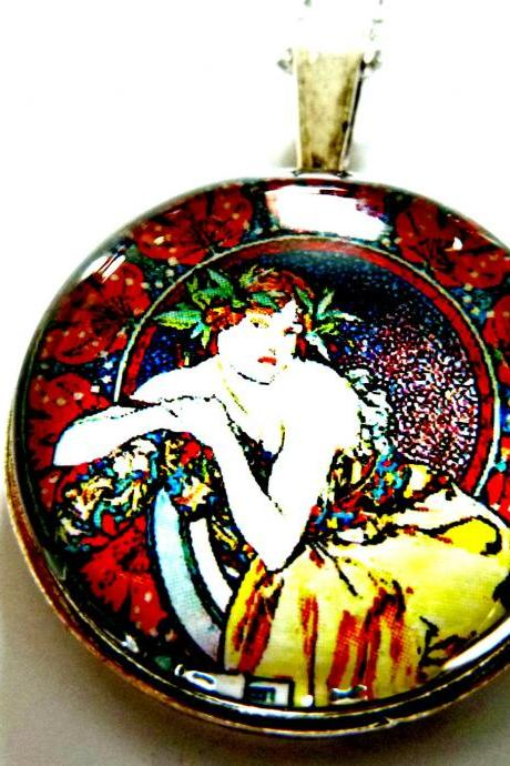 Art Nouveau Vintage Lady Olivia Necklace made with a glass cabochon and Tibetan Silver bezel, handmade