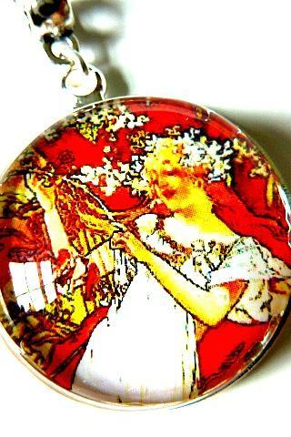 Art Nouveau Vintage Lady Mireille Necklace made with a glass cabochon and Tibetan Silver bezel, handmade